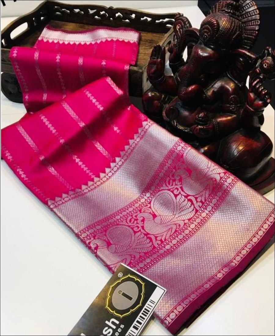 SF - Pink color Lichi Silk Saree