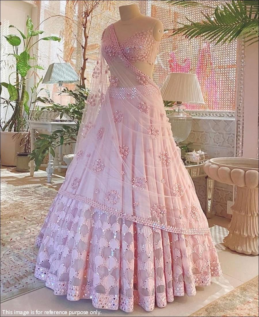 RE - Lovely Baby Pink Cotton Silk Mirror Work Lehenga