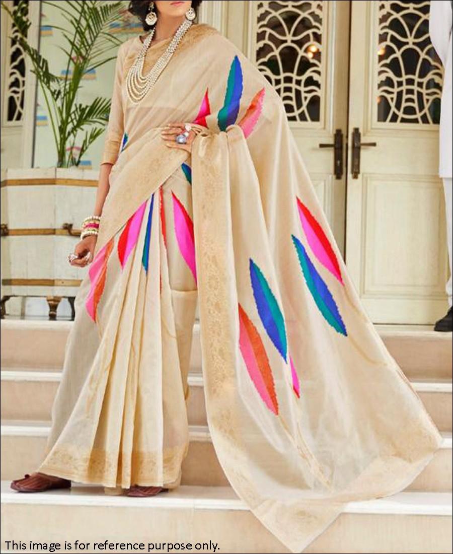 RE - Beige Coloured Handloom Silk Saree