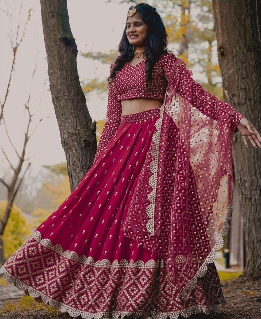 Cherry Red color Georgette Lehenga Choli