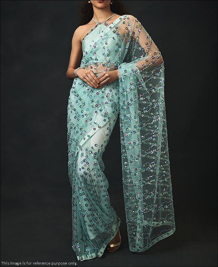 RE - Stunning Light Firozi Butterfly Net Sequence Work Saree