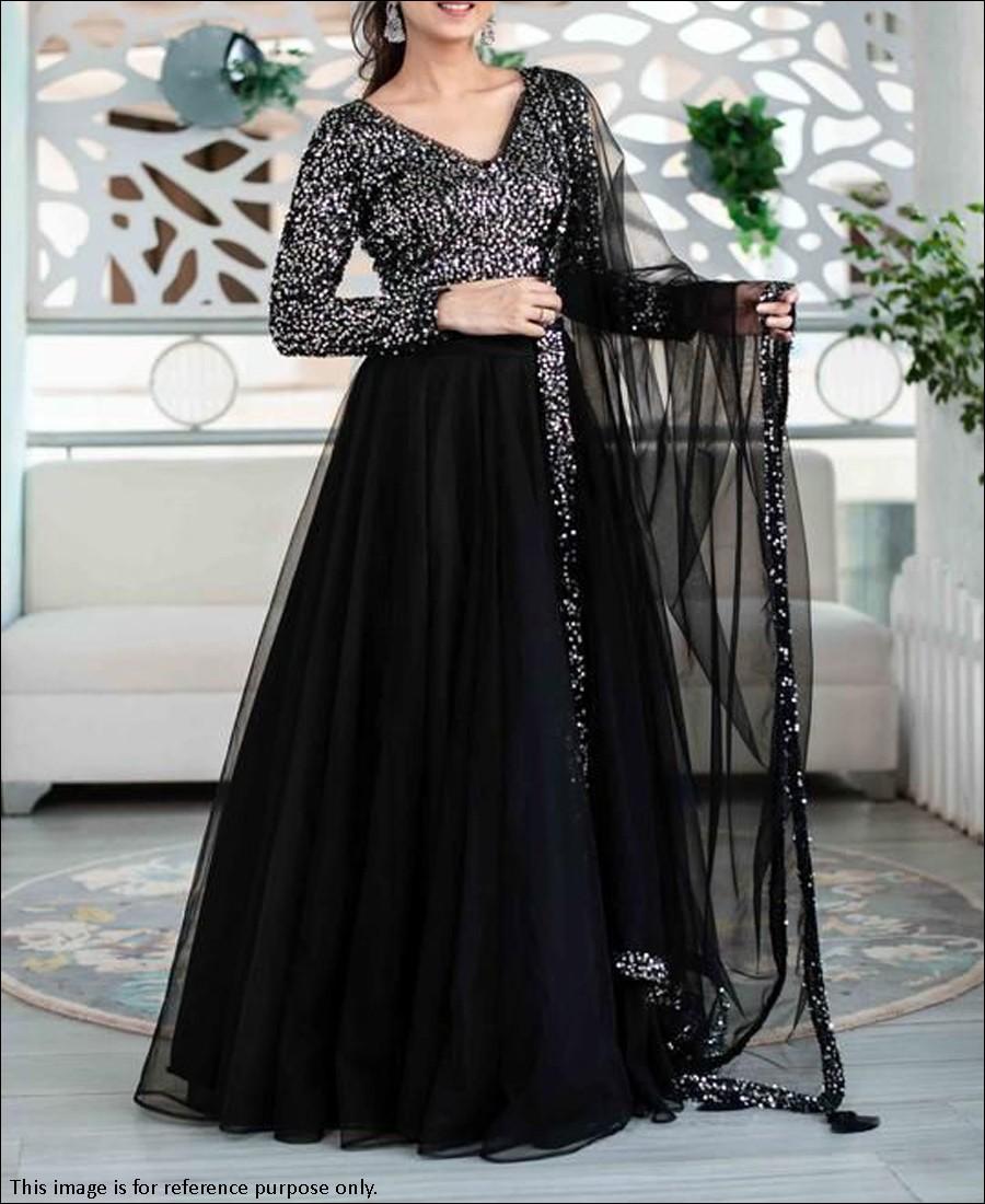 RE - Decent Black Colored Heavy Net Lehenga