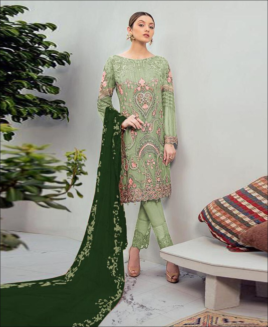 RF - Glorious Green Foux Georgette Embroidered Pakistani Straight Suit