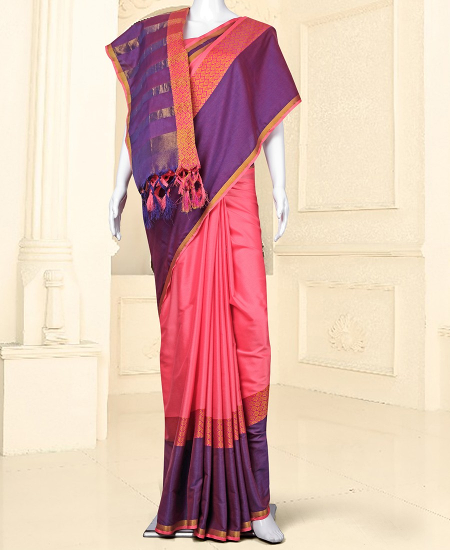 RE - Winsome Light pink silk self weaving saree