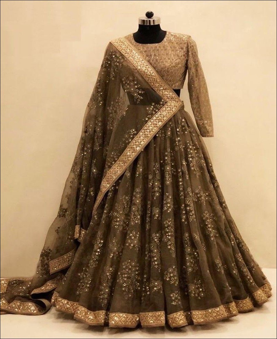 RE - Magnificent Coffee Brown Colored Net Lehenga Choli