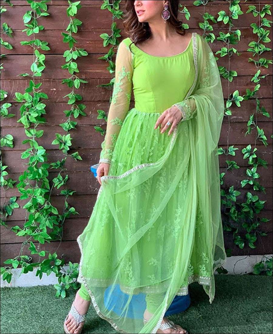 RE - Green Colored Semi-Stitched Salwar Suit