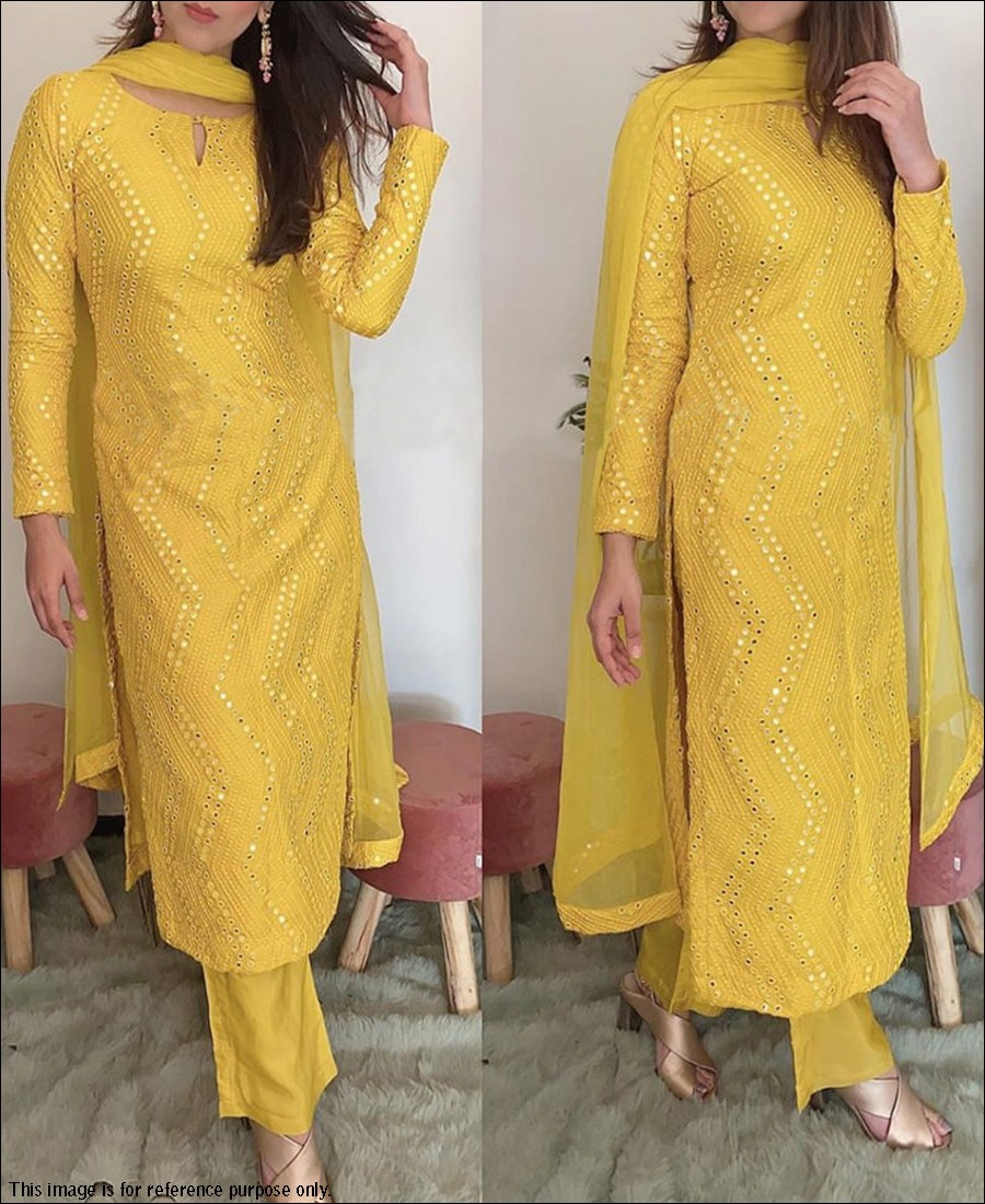 RE - Yellow Colored Semi-Stitched Salwar Suit