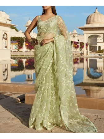 VF - Classy olive green net embroidered saree