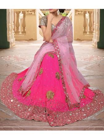 VF - Dulcet pink Georgette mirror work lehenga choli