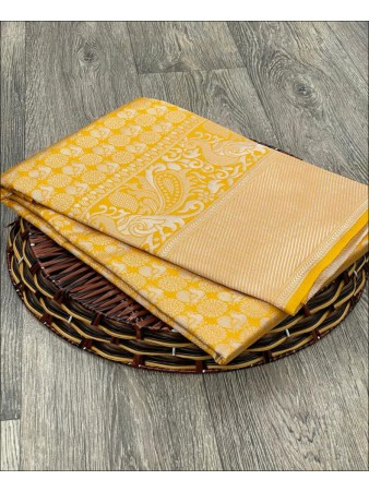 SF - Yellow color Raw Silk Saree