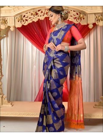 SF - Blue color Lichi Silk Saree