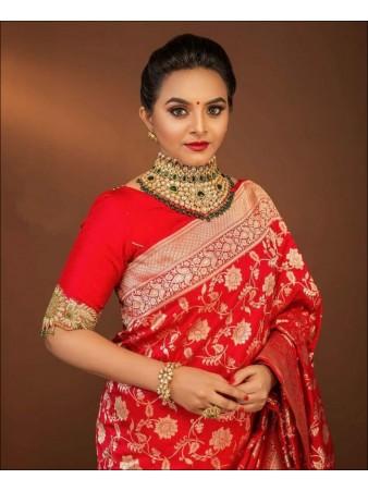 SF - Red color Lichi Silk Saree