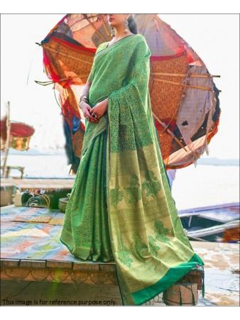 RE - Green Coloured Handloom Silk Saree
