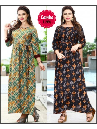 RE - Elegant Multi color rayon print stitched kurti - Pack of 2