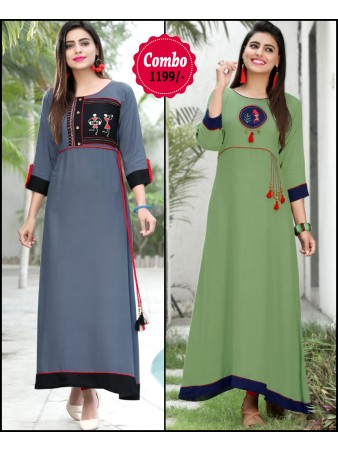 RE - Elegant grey And green color rayon print stitched kurti - Pack of 2