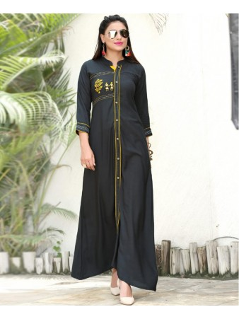 RE - Alluring Dark Grey slub rayon embellish stitch kurti
