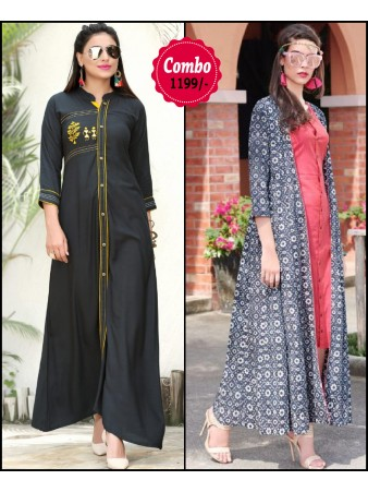 RE - Elegant black and multi color rayon print stitched kurti - Pack of 2