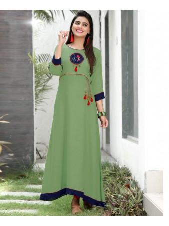 RE - Captivating Green slub rayon embellish stitch kurti