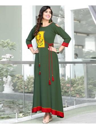 RE - Zestful Dark green slub rayon embellish stitch kurti