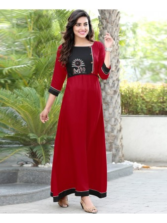 RE - Mellifluous Red slub rayon embellish stitch kurti
