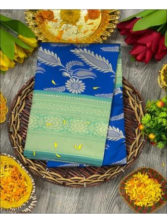 CM- Royal Blue color Lichi Silk Saree