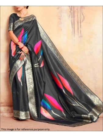 RE - Black Coloured Handloom Silk Saree