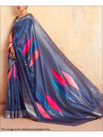 RE - Blue Coloured Handloom Silk Saree