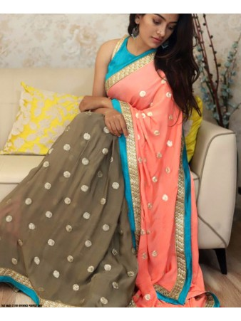 RE - Classic multi color 60GM Georgette sequence work saree