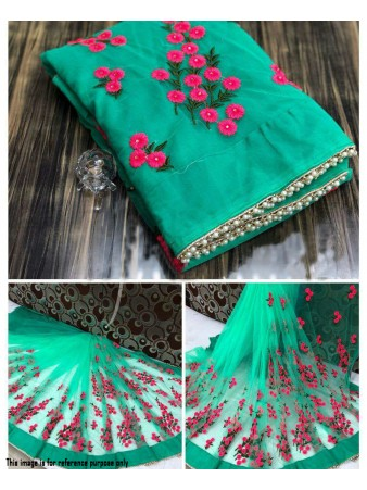 RE - Winsome green soft mono net pearl work border saree