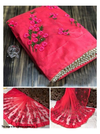 RE - Winsome pink soft mono net pearl work border saree