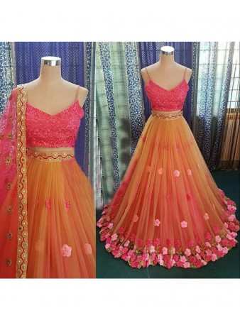 VF - Floral embroidered net multi color lehenga