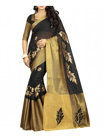 BF - Black Embroidery Poly cotton saree with blouse