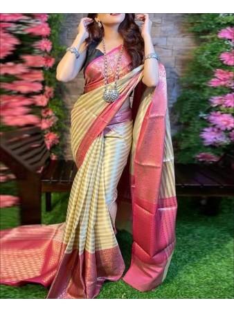CM- Beige color Lichi Silk Saree