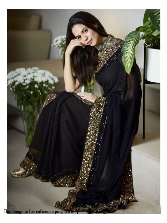 RE - Partywear black georgette sequence embroidery border saree