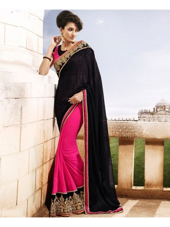 KF - Black and pink georgette border lace saree