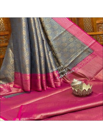 CM- Grey color Lichi Silk Saree