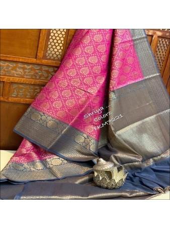 CM- Pink color Lichi Silk Saree