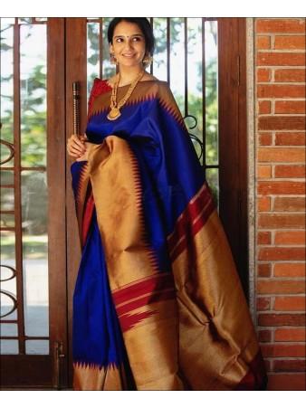CM- Blue color Lichi Silk Saree