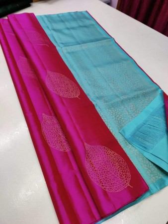 CM- Pink color Soft Lichi Silk saree