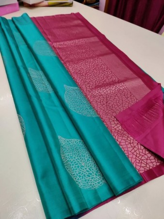 CM- Teal color Soft Lichi Silk saree