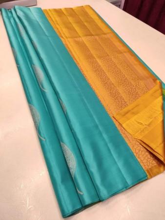 CM- Turquoise color Soft Lichi Silk saree