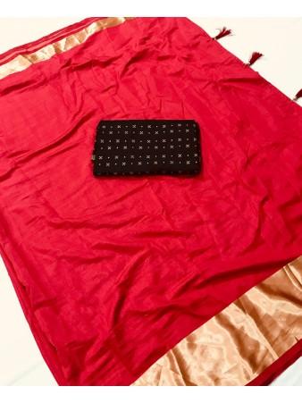 FC - Pleasing Red Sana silk Golden Zari border work Saree