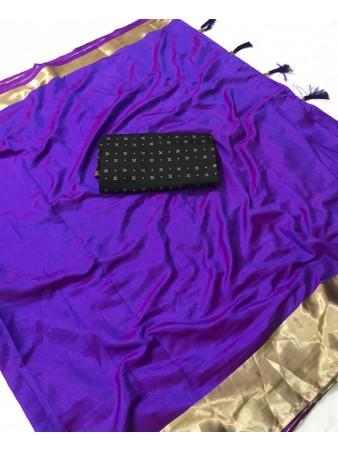 FC - Elegant Purple Sana silk Golden Zari border work Saree