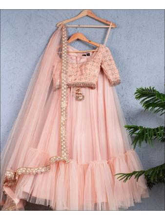 Light Peach color Net Lehenga Choli