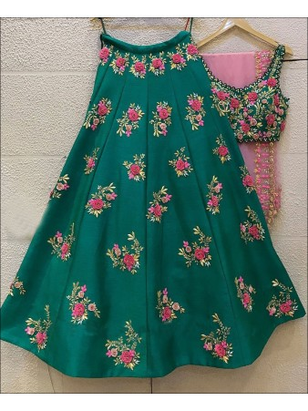 Green color Taffeta Silk Lehenga Choli