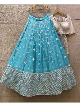 Sky Blue color Kitkat Silk Lehenga Choli