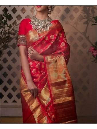 RE - Red Colored Cotton Silk Saree