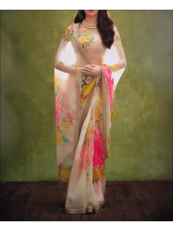 RE - Attractive Multi Colored Soft Organza Silk Saree
