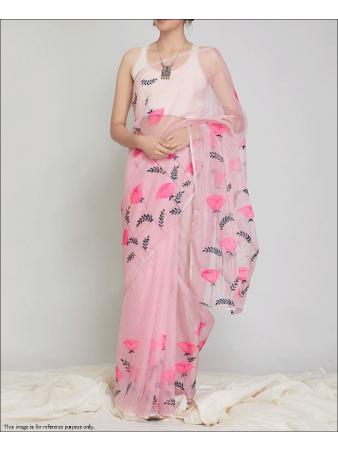 RE - Attractive Multi Colored Organza Silk Saree