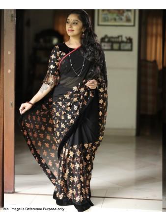 RE - Fantastic Black color Embroidery Saree